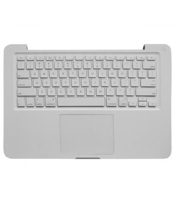 מקלדת לאפל מקבוק לבן כולל פלסטיק עליון וטאץ פד A1342 Top case with keyboard for MacBook 13'' Unibody 2009-2010 (with trackpad)